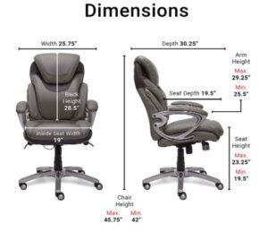 Serta AIR Health and Wellness Chair Dimensions